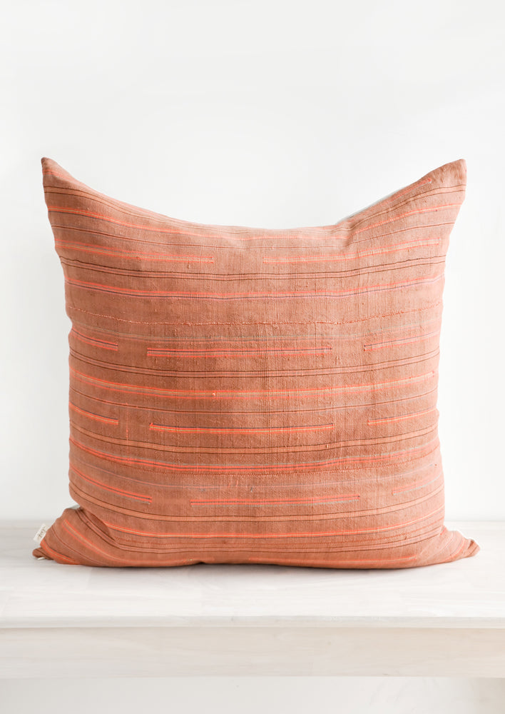 Thin Neon Stripe Pillow in Rust in  - LEIF