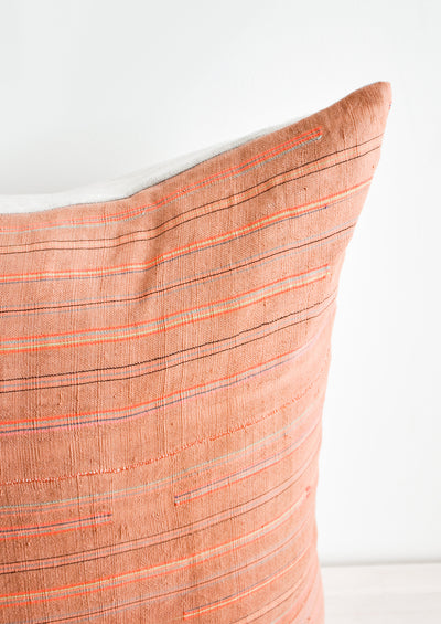 Thin Neon Stripe Pillow in Rust hover