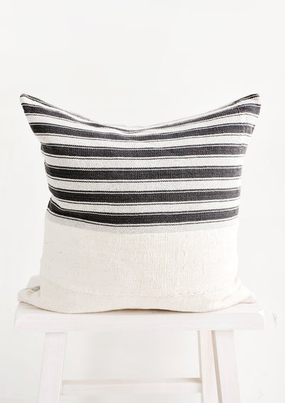 Karen Stripe Pillow in Ivory & Black