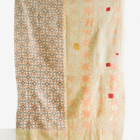 2: Reverse Side of Vintage Patchwork Kantha Quilt Yellow Tones - LEIF