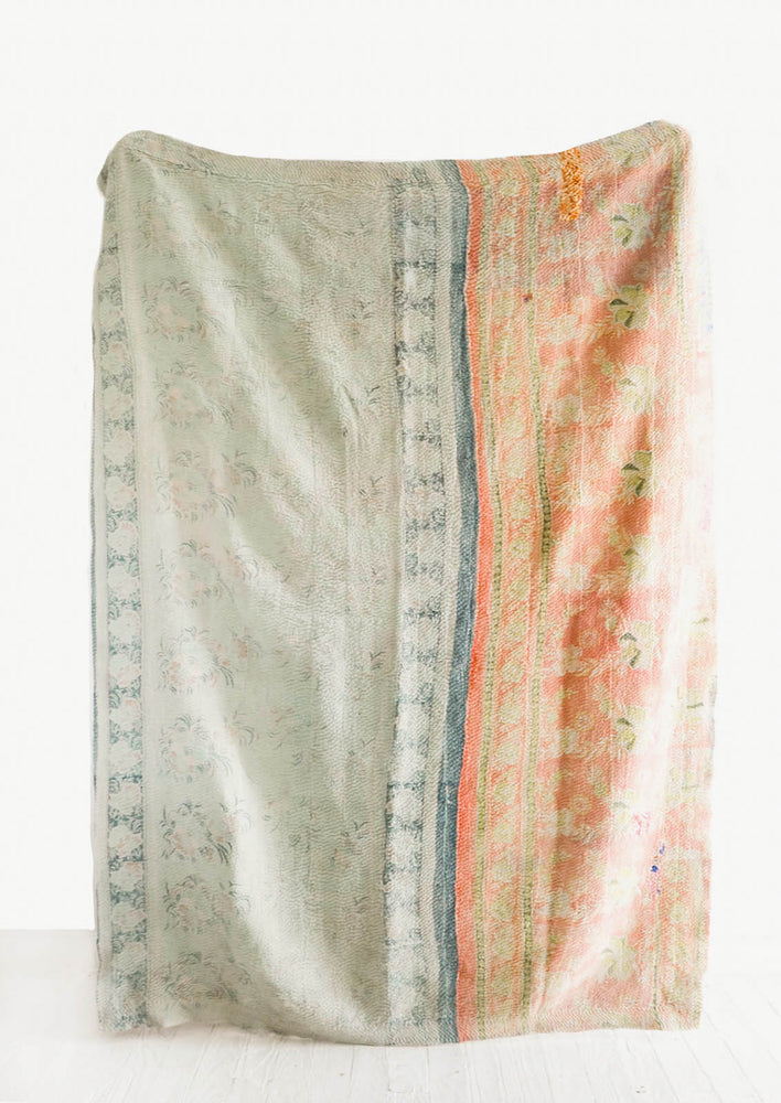 2: Reverse Side Of Vintage Patchwork Kantha Quilt in Mint/Orange  - LEIF