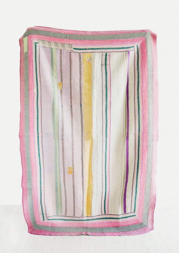 1: Vintage Indian Kantha Quilt in Pastel Tones - LEIF