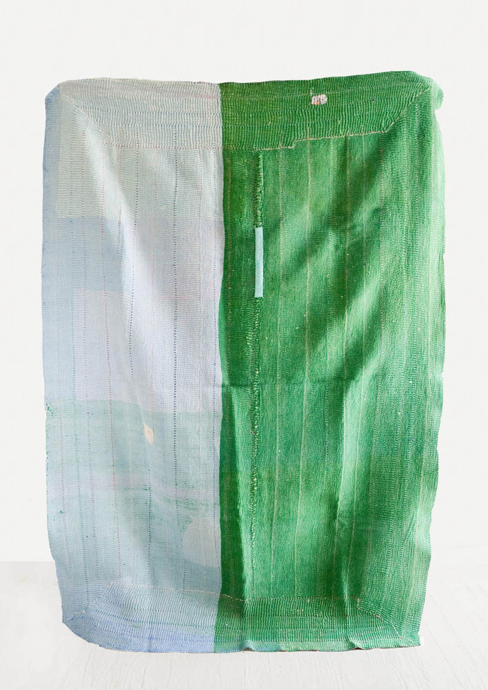 2: Back of Vintage Indian Quilt in Blue & Green - LEIF