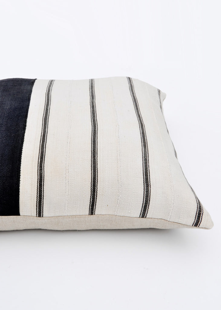 Vintage Striped Fabric Pillow, 22""