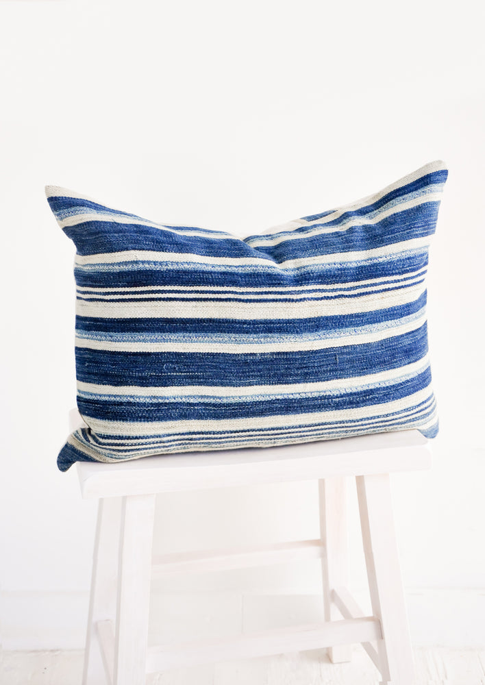 "Striped African Indigo Pillow in 14"" x 22"" [$158.00] - LEIF"