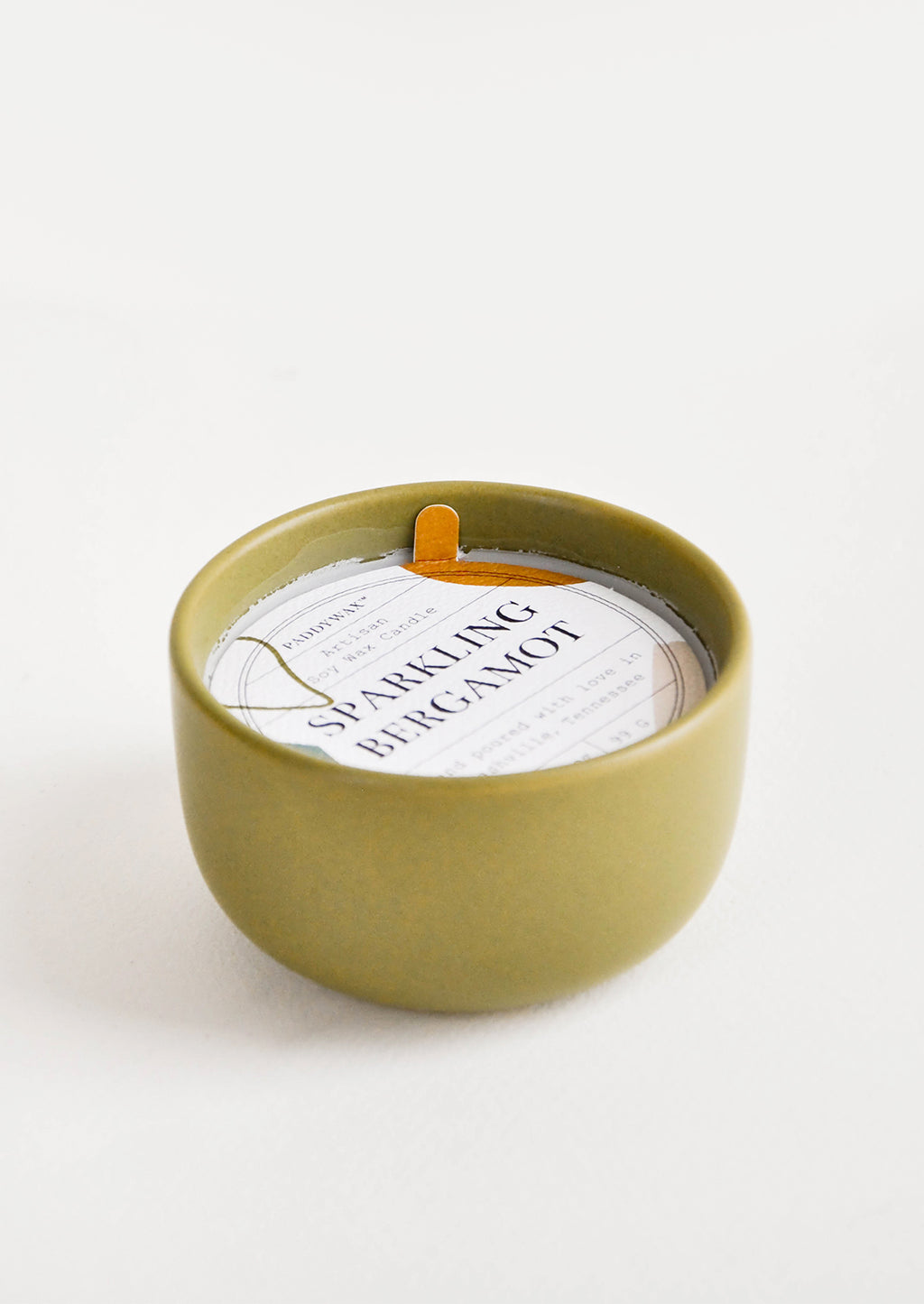 Sparkling Bergamot: Small scented candle in colorful olive green ceramic vessel