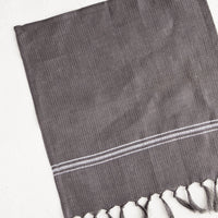 Charcoal: Waffle-textured dishcloths in charcoal color with single white stripe detail and tassel trim