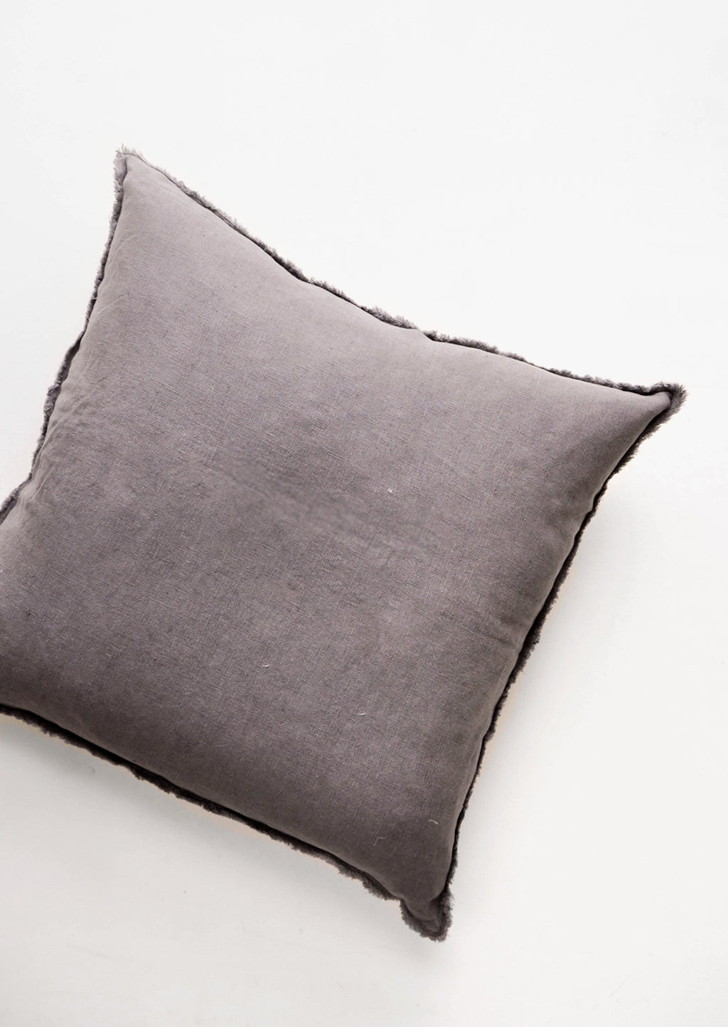 Charcoal: Square Linen Throw Pillow with Frayed Trim in Charcoal - LEIF