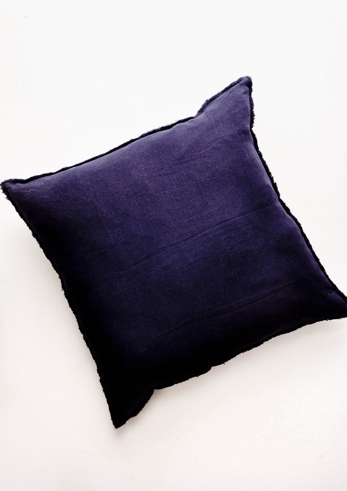 Midnight Blue: Square Linen Throw Pillow with Frayed Trim in Midnight Navy - LEIF