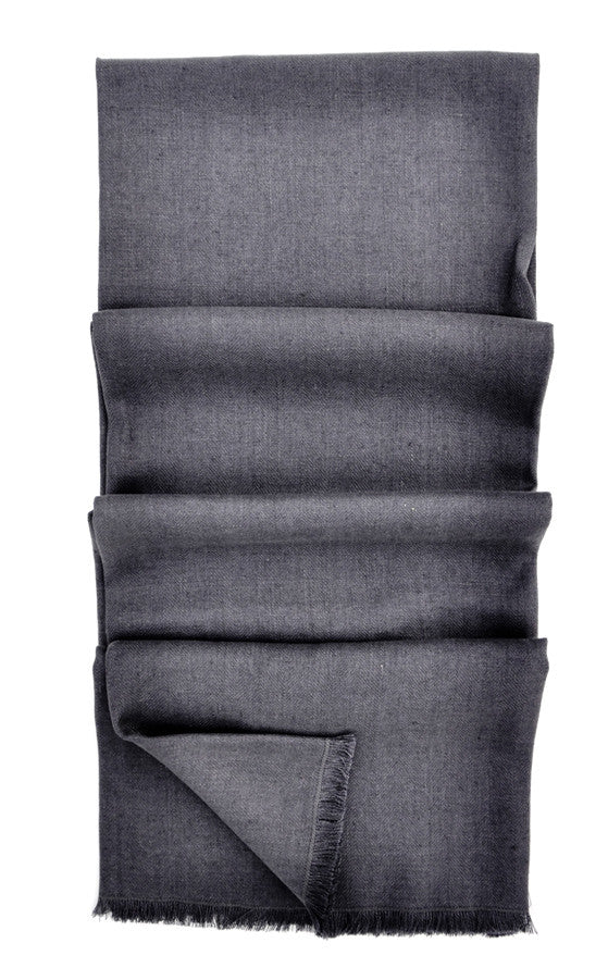 Charcoal: Washed Linen Throw in Charcoal - LEIF