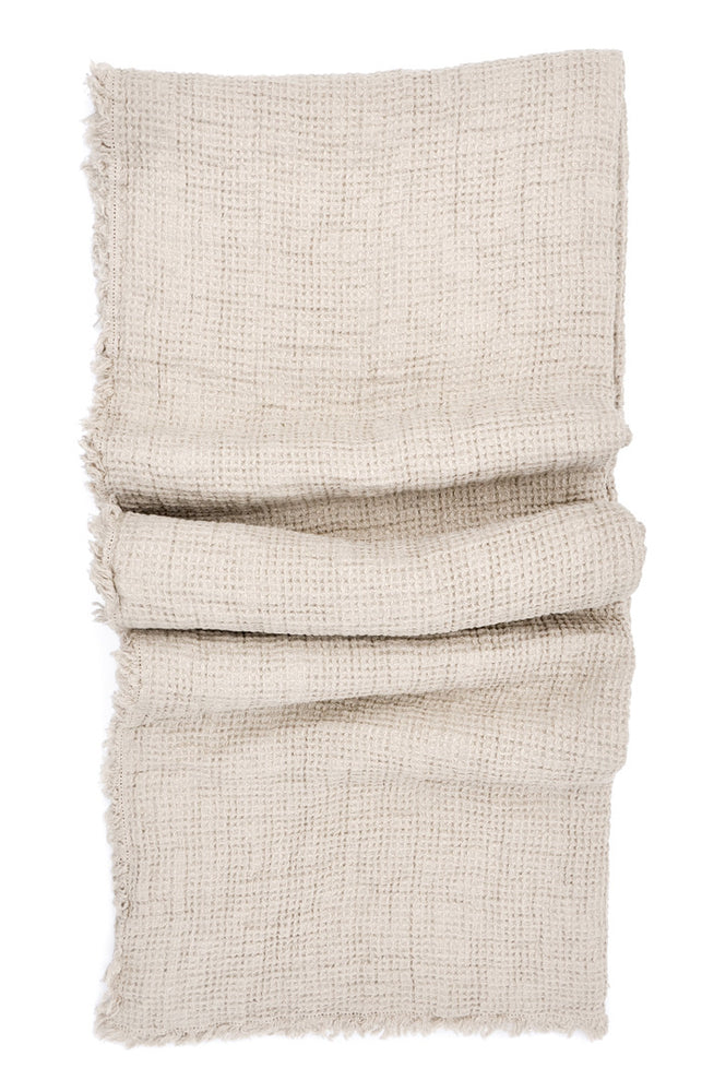 Natural: Waffle Linen Throw in Natural - LEIF