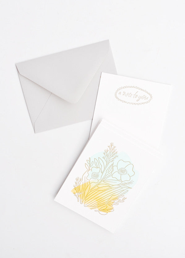 Watercolor Floral Notecard Set - LEIF