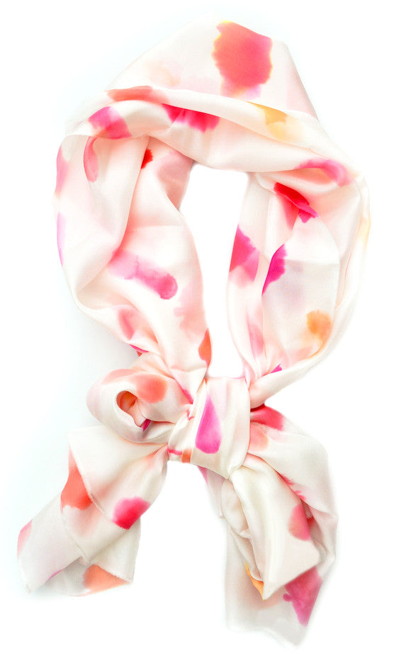 Watercolor Marks Scarf in Lipstick - LEIF