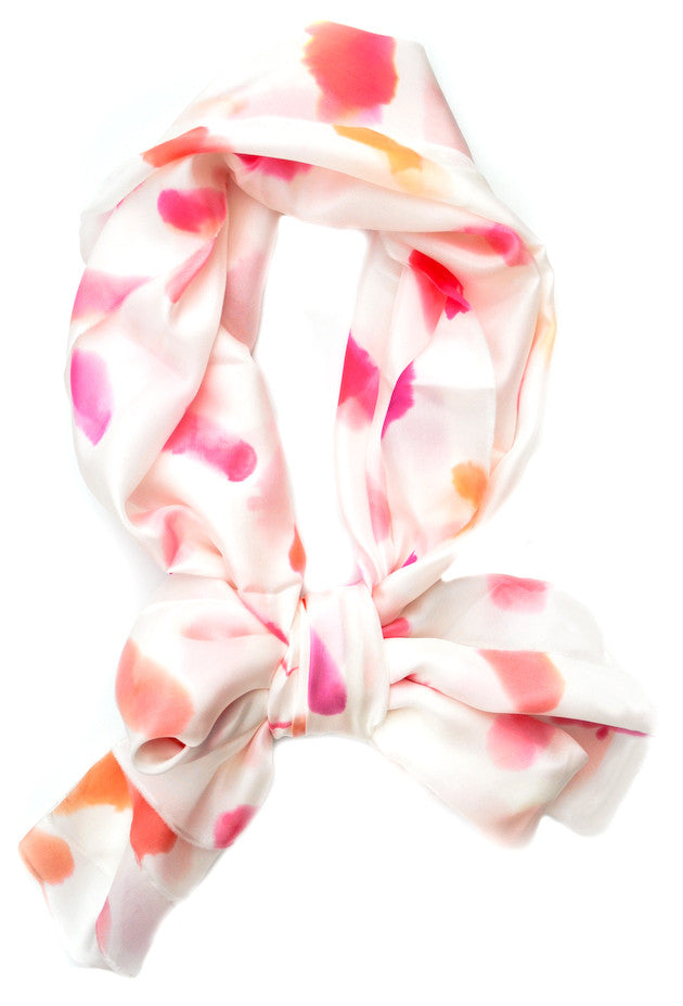 Watercolor Marks Scarf in Lipstick