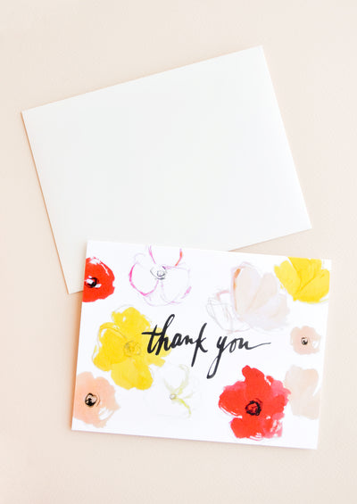 Watercolor Poppies Thank You Card in  - LEIF