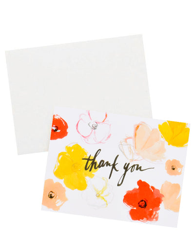 Watercolor Poppies Thank You Card