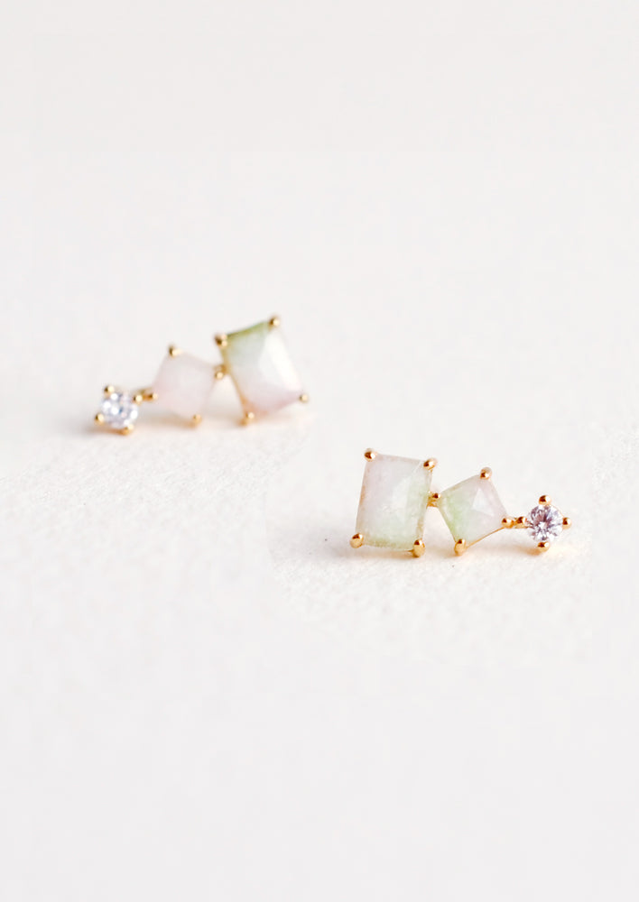 Stacked Watermelon Tourmaline Studs
