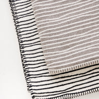 2: Plush throw blanket with allover wavy lines print and whipstitched edges