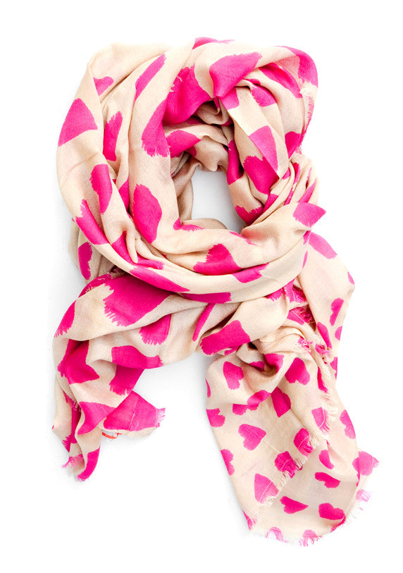 Whimsy Hearts Wool-Silk Scarf - LEIF