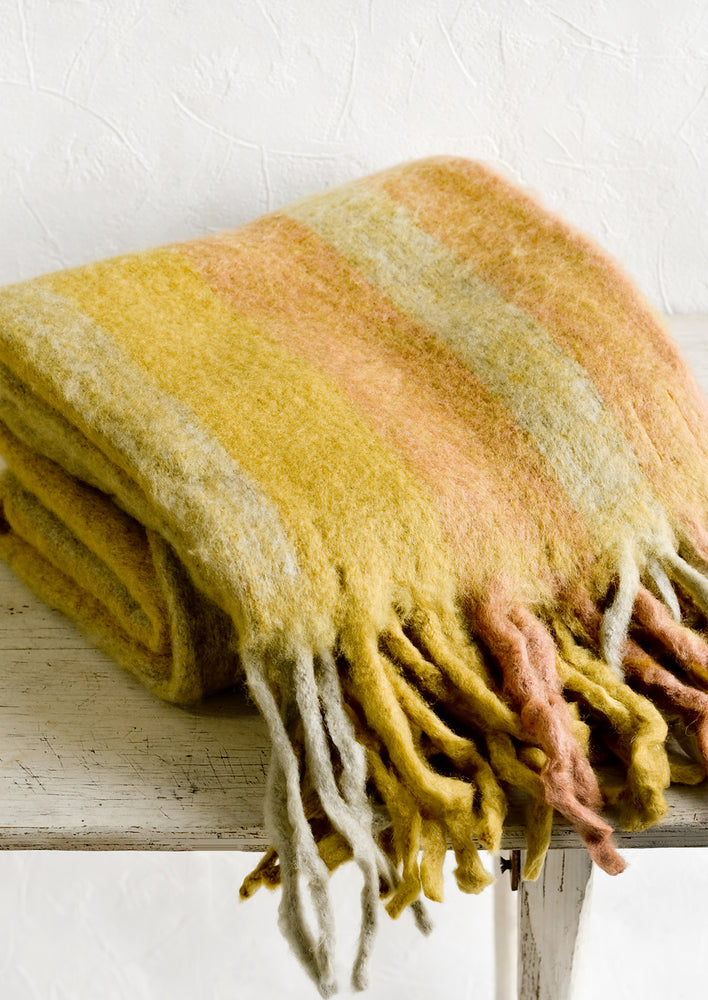 Wheat Multi: Whistler Striped Throw Blanket