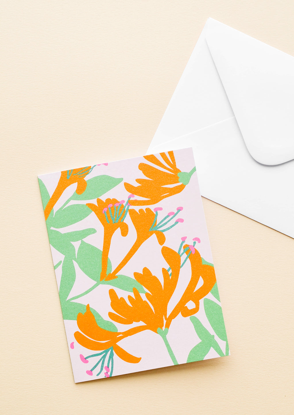 Honeysuckle: Pink notecard with colorful drawing of a honeysuckle and white envelope.