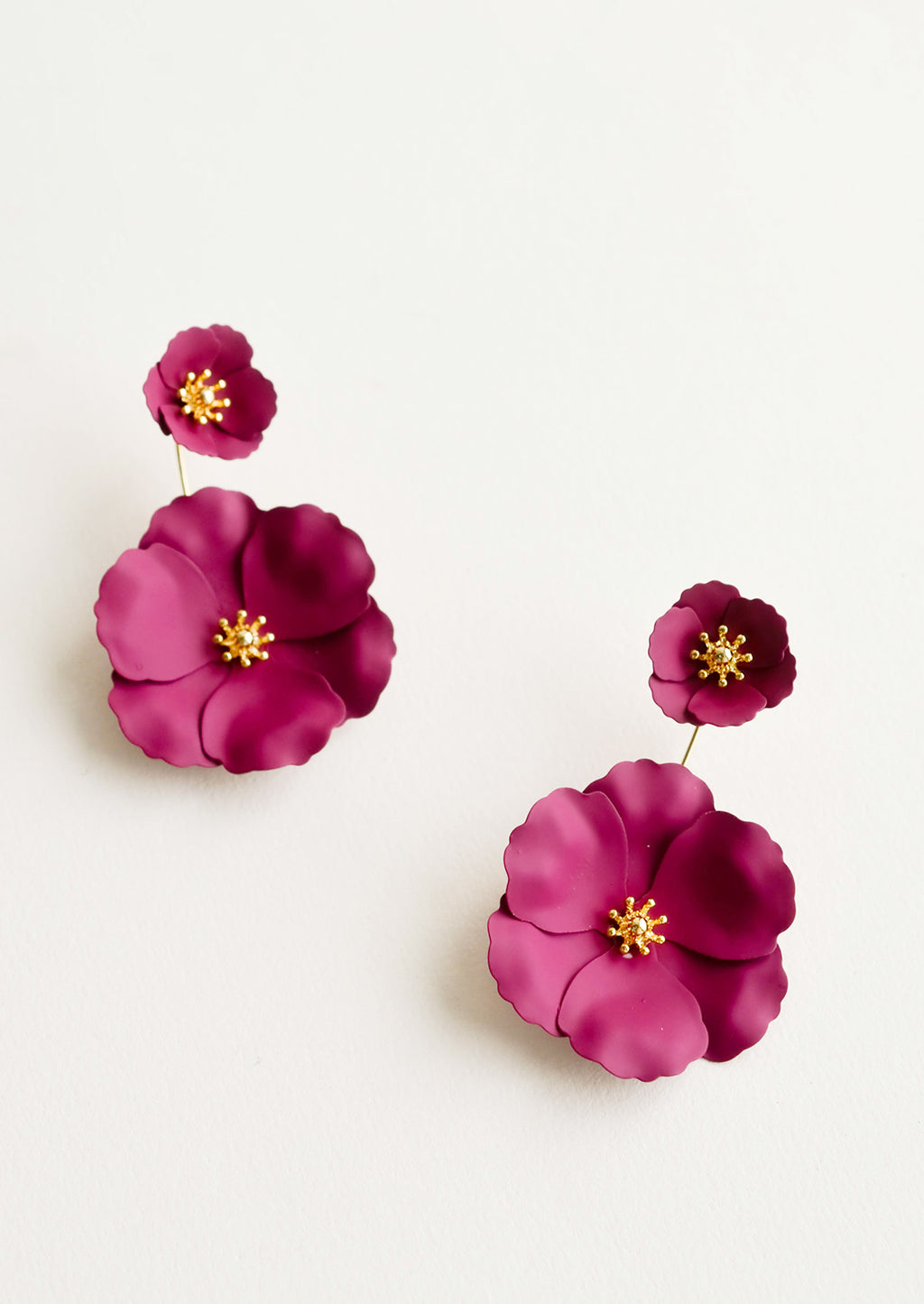 Blackberry: Two part berry and gold flower earrings with a small flower post and larger flower drop.