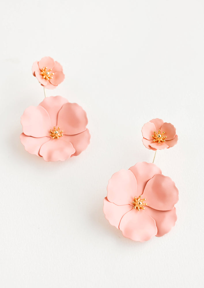 Peach: Two part pale pink and gold flower earrings with a small flower post and larger flower drop.