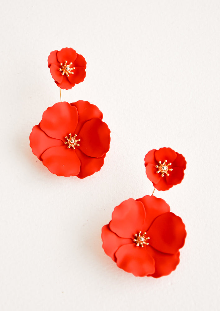 Flame: Two part poppy red and gold flower earrings with a small flower post and larger flower drop.