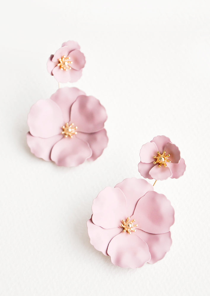 Rose: Two part lilac and gold flower earrings with a small flower post and larger flower drop.