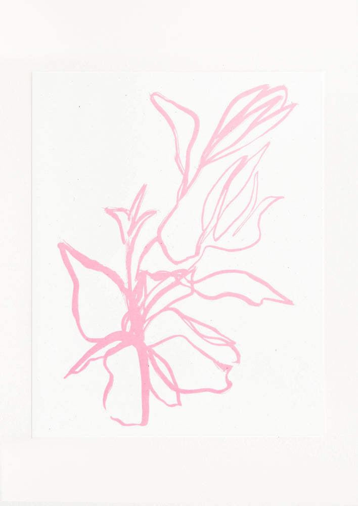 A minimal drawing in pink of a flower.