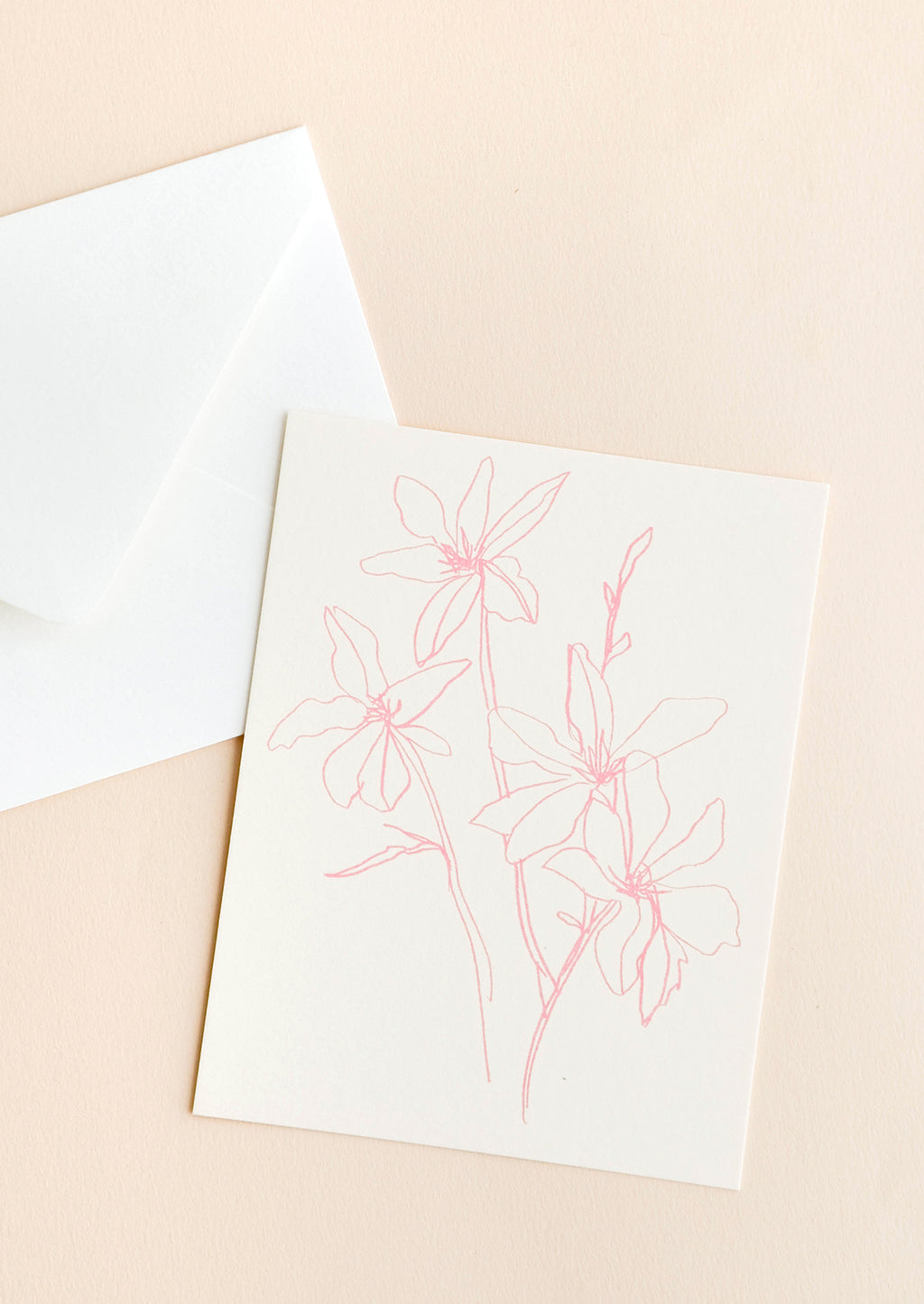 2: Notecard featuring drawing of flowers in pink and accompanying envelope.