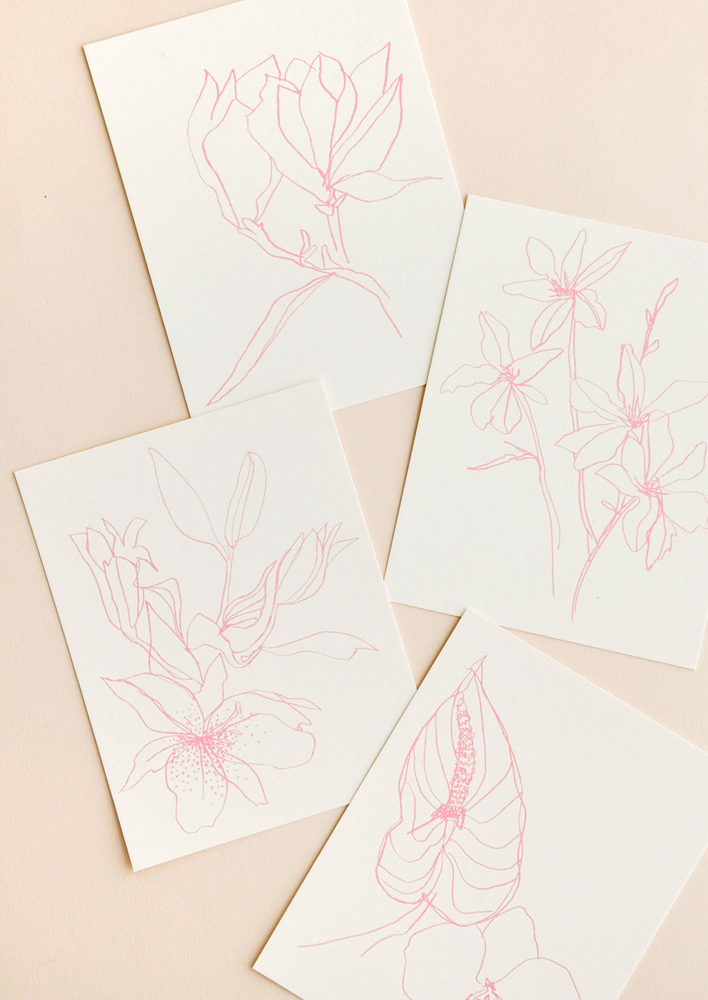 1: Product show showing four styles of floral drawing notecard.