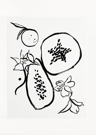 A minimalist black and white illustration of fruit.