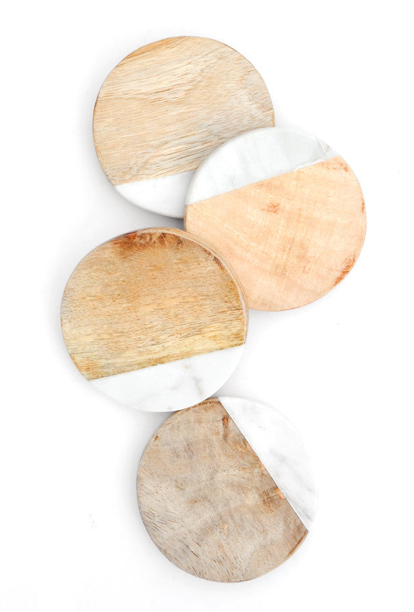 Wood & Marble Coaster Set