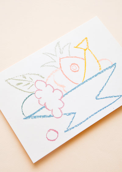 Fruit Bowl Sketch Blank Card hover