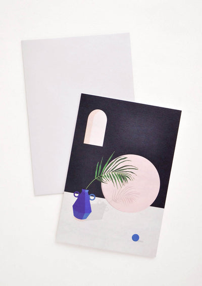Greeting card picturing architectural modern still life scene