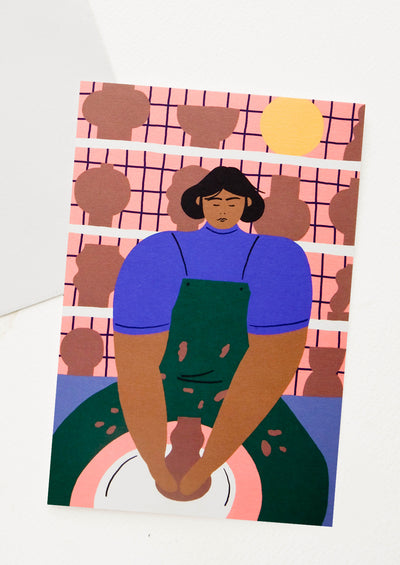 Oversized greeting card with illustration of a woman at a potter's wheel