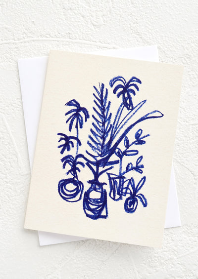 "A small greeting card with ecru background and image of potted plants with ""hand drawn"" effect."