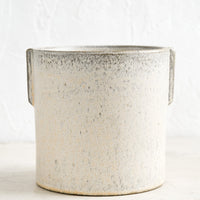 2: A neutral, speckled ceramic round planter with raised detailing at sides.