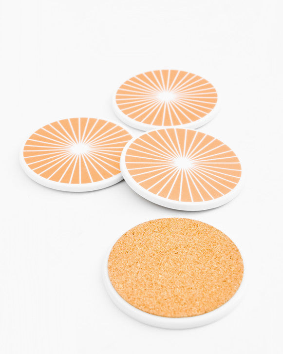 Copper Ray Ceramic Coaster Set - LEIF