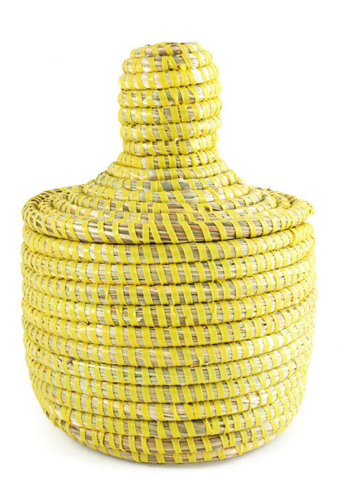 Yellow: Lidded Mini Basket in Yellow - LEIF