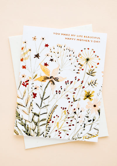 Mother's day card with watercolored wildflowers and seed paper envelope
