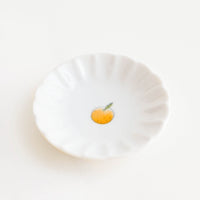 1: Scalloped Ceramic Mini Dish with Little Orange Fruit - LEIF