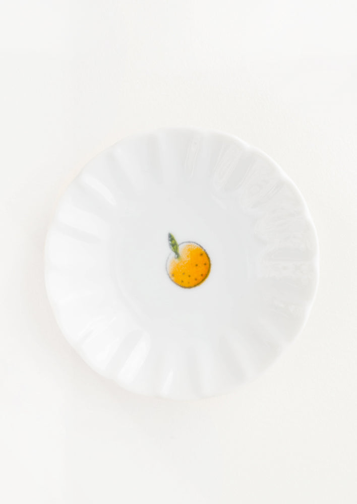 Scalloped Ceramic Mini Dish with Little Orange Fruit - LEIF