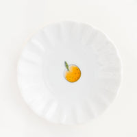 Orange: Scalloped Ceramic Mini Dish with Little Orange Fruit - LEIF