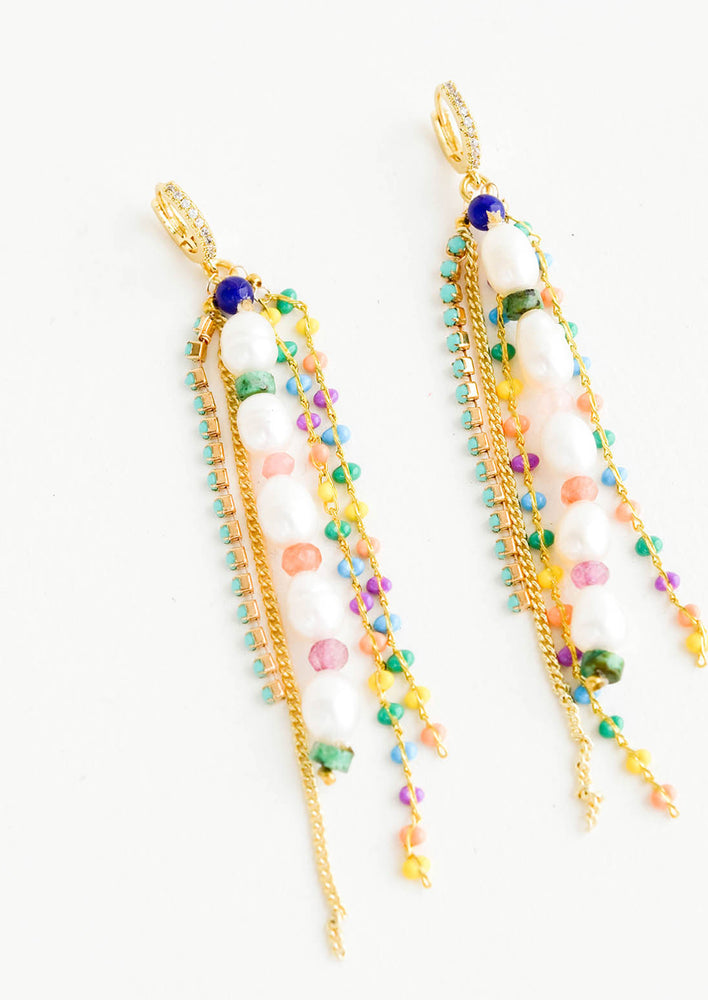 1: Dangy earrings with multiple gold chain and colorful beaded strands, main center strand in pearl beads