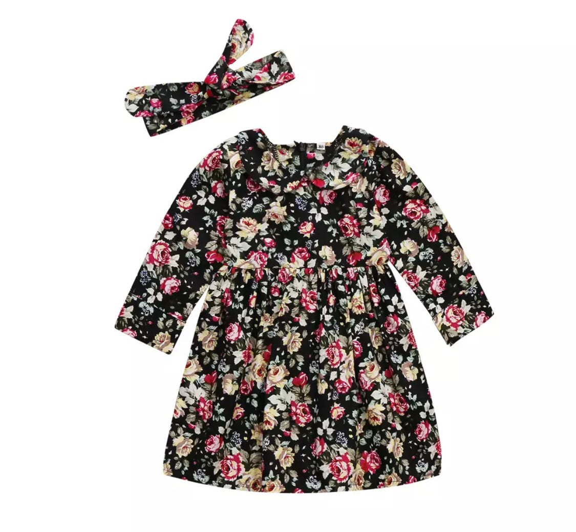 8722d9daf8 Girls Dark Floral Dress and Headband Set – Coop   Mi