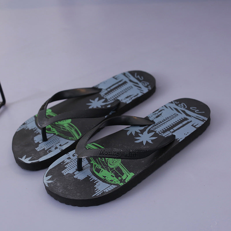 Summer Casual Coconut Tree Camouflage Flip Flops
