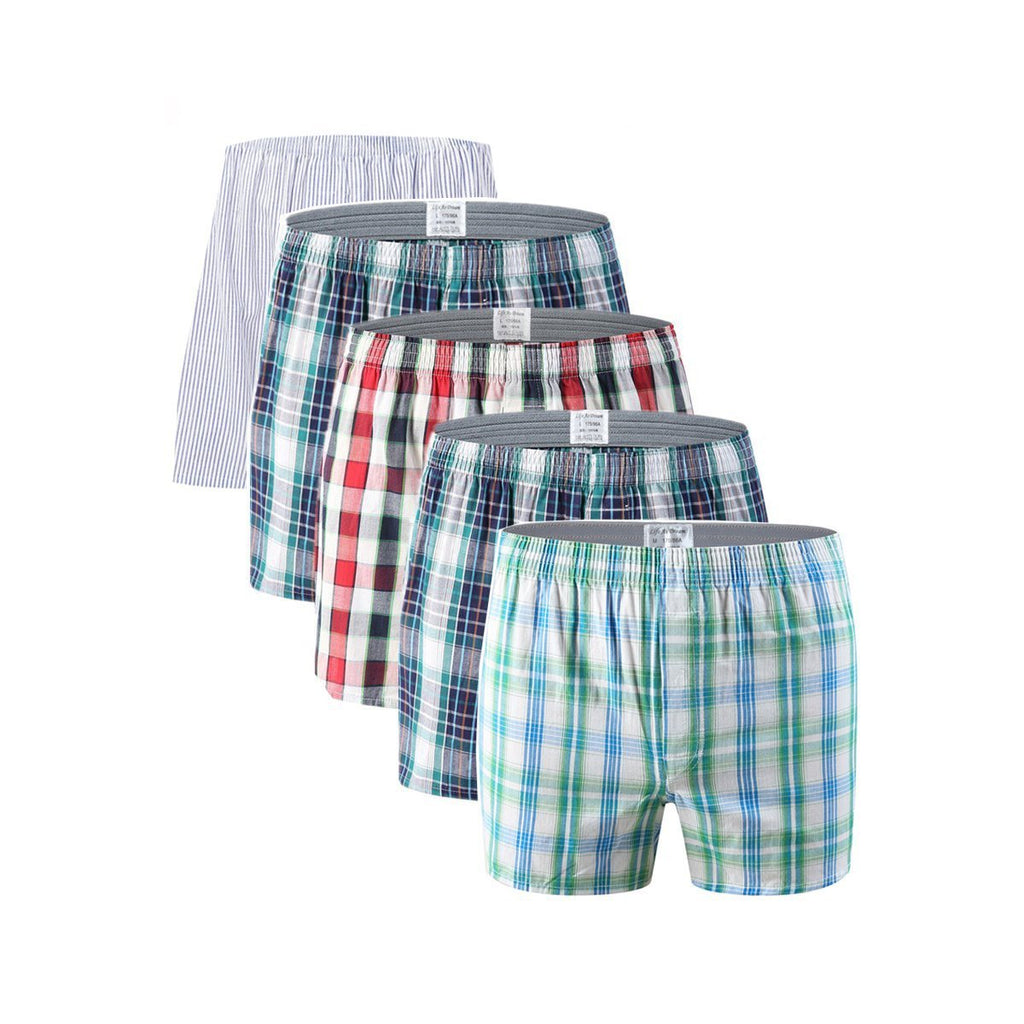 5Pcs/Lot Classic Plaid Striped Men's Boxers Cotton Mens Underwear