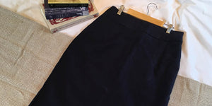 Black linen pencil skirt